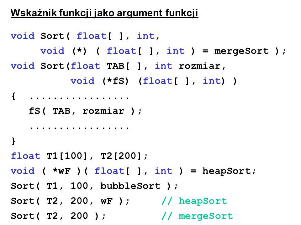 Wskaźnik funkcji jako argument funkcji void Sort( float[ ], int,